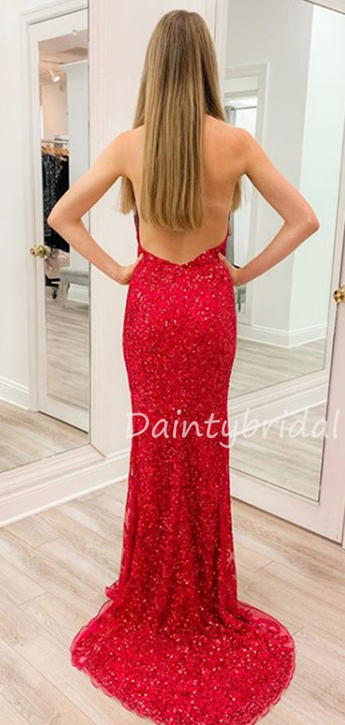 Sexy V-neck Mermaid Halter Open Back Fashion Prom Dresses Evening Dresses.DB10495