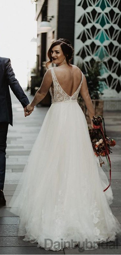 Sexy V-neck Tulle With Lace Open Back Wedding Dresses With Appliques,DB10265