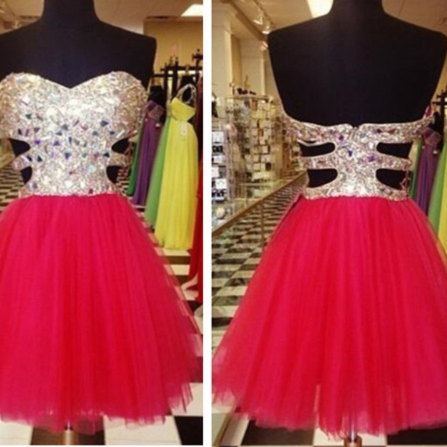 Strapless mismatched sweetheart sparkly mini freshman graduation homecoming prom gown dress,BD0052
