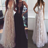 Sexy Deep V-Neck With Appliques Vintage Sleeveless Backless Beautiful Long Evening Prom Dress. PD1012
