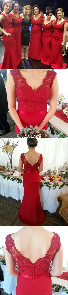 Long Red Lace Sleeveless Column V-Neck Little Mermaid Sweep Trailing Plus Size Sexy Bridesmaid Dresses, WG53