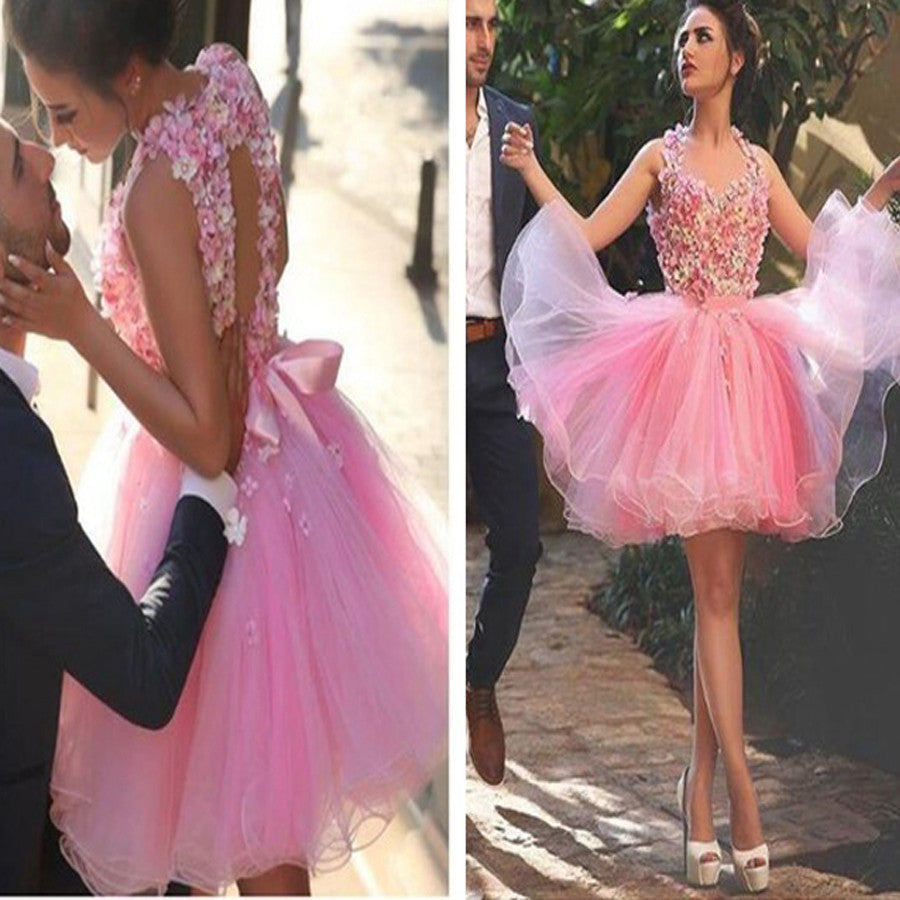 Lovely Pink Handmade Flowers Halter Open Back Bow Knot Mini Petal Homecoming Prom Dress,BD0054
