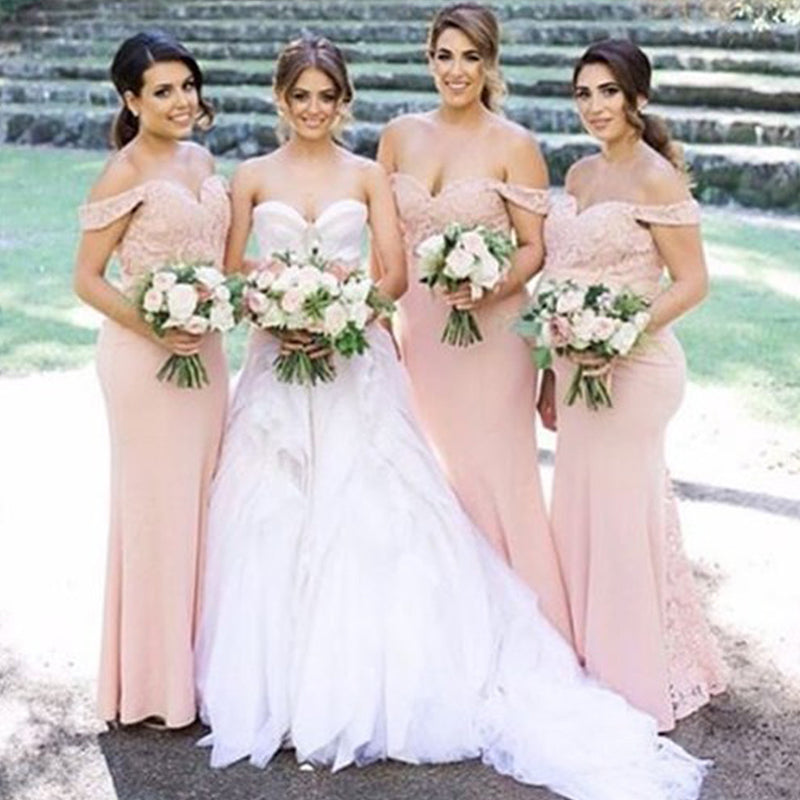 Junior Pretty Blush Pink Lace Off Shoulder Sweetheart Mermaid Floor-Length Bridesmaid Dresses, WG55
