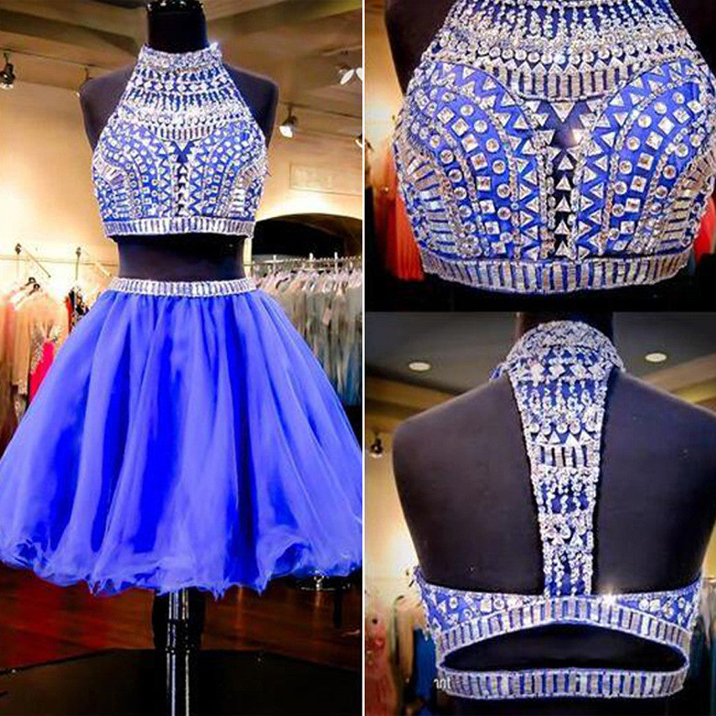 Short Royal Blue Sparkly Two Pieces Vintage Rhinestone Halter Open Keyhole Back Homecoming Prom Dress,BD0056
