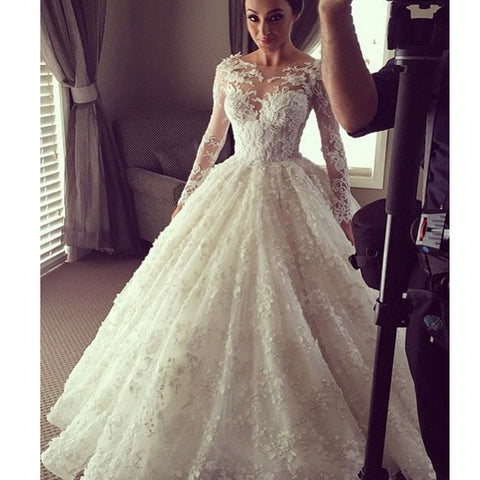 Vintage Clairvoyant Outfit Lace Long Sleeves Ball Gown Full Appliques Charming Bridal Wedding Dress. DB040