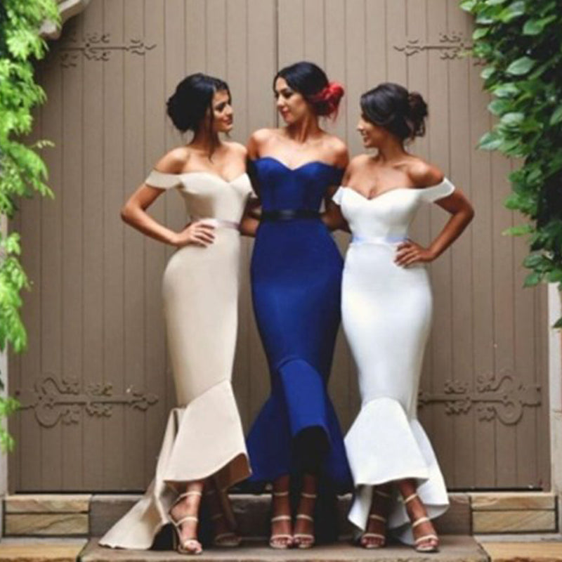 Sexy Mermaid Off Shoulder Sweetheart Ankle-Length HI-Lo Ruffles Charming Long Wedding Party Bridesmaid Dress, WG58