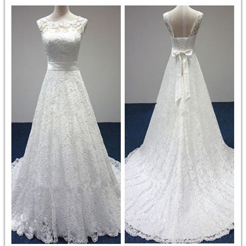 Vintage Simple Long A-line Country Elegant Bridal Lace Up Back Bow Sash Full Lace Wedding Dresses, DB042