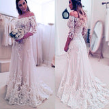 Stunning Off Shoulder Half Sleeve Long A-line Lace Appliques Sweep Trailing Wedding Party Dresses, WD0059