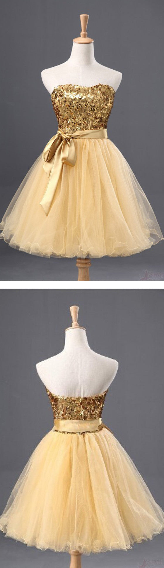 Fashion Gold Sequins Bow Sash Sweetheart Strapless Short Cute Homecoming Prom Dresses, CM0029