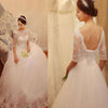 Vintage Sweetheart Illusion Half Sleeve Lace Beaded Tulle Open Lace Up Back Ball Gown Wedding Dresses, WD0005