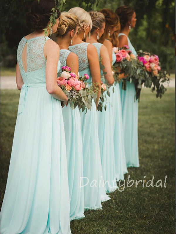 New Arrival Scoop Neck Floor Length Long Chiffon Bridesmaid Dresses.DB10386