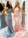 Mermaid Spaghetti Strap Lace Up Back Long Prom Dresses Evening Dresses.DB10591