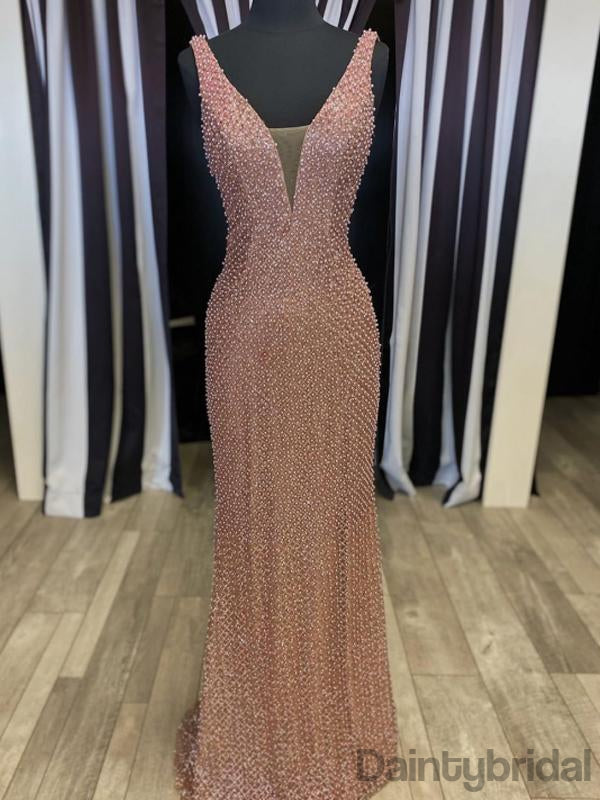 Sexy V-neck Open Back Prom Dresses Evening Dresses.DB10288
