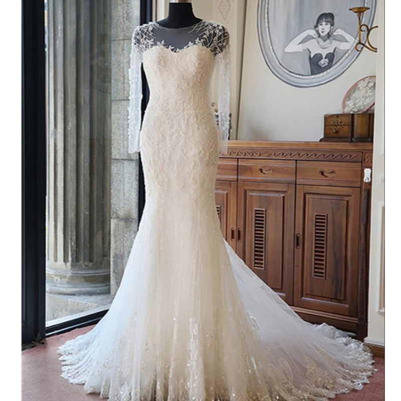 Sexy Long Illusion Sleeves Mermaid Lace Appliques Yarn Back Chapel Trailing Wedding Party Dresses, WD0035