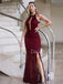Charming Halter Mermaid Side Slit Tulle Lace Open Back Long Prom Dresses Evening Dresses.DB10485