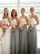 Cheap Long Elegant Sweetheart Strapless Simple Column Floor-Length Pleating  Bridesmaid Dresses, WG35
