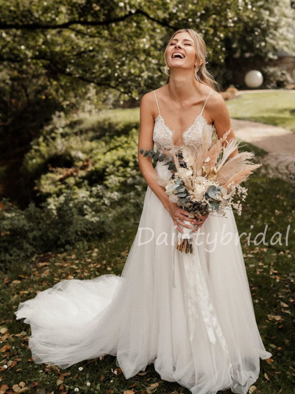 New Arrival V-neck Lace Tulle A-line Long Wedding Dresses.DB10475