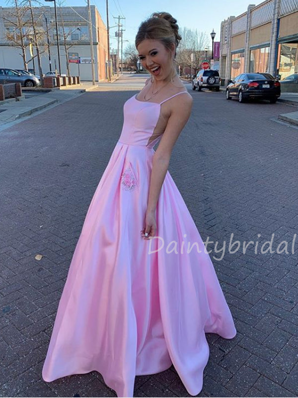 Sexy Spaghetti Strap A-line Satin Long Prom Dresses Evening Dresses With Pocket.DB10445