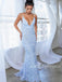Mermaid V-neck Open Back Lace Long Prom Dresses Evening Dresses.DB10375