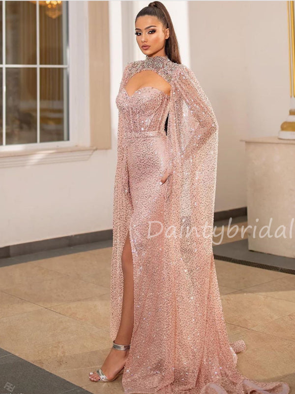 Charming Sweetheat Sequin Side Slit Long Prom Dresses Evening Dresses.DB10505