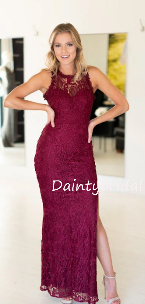Charming Sleeveless Side Slit Lace Long Prom Dresses Evening Dresses.DB10506