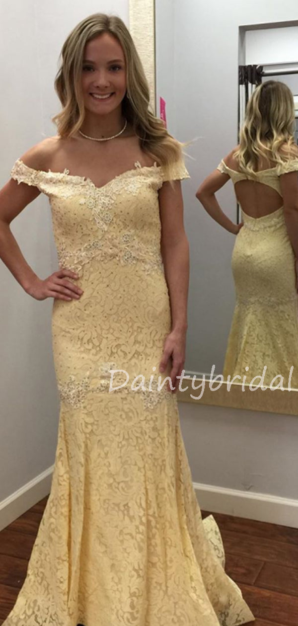 Charming Off-shoulder Lace Mermaid Long Prom Dresses Evening Dresses.DB10546