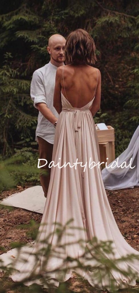 Vintage Sexy V-neck Open Back Side Slit Evening Party Long Wedding Dresses, DB10696