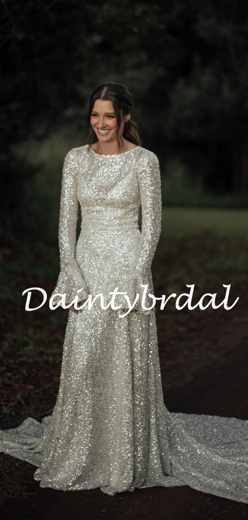 Simple Round Neck Sequin Long Sleeve Mermaid Long Bridesmaid Dresses.DB10781
