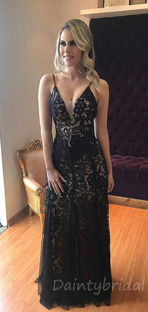 Sexy V-neck Lace Open Back Floor Length Long Prom Dresses Evening Dresses.DB10356
