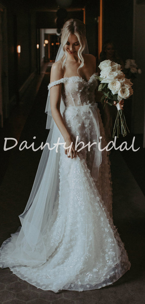 Simple Vintage Off-shoulder Mermaid Lace See-through Long Wedding Dresses Evening Dresses.DB10710