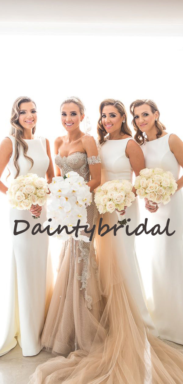 Simple Round-neck Mermaid Charming Sleeveless Evening Dresses Bridesmaid Dresses.DB10721