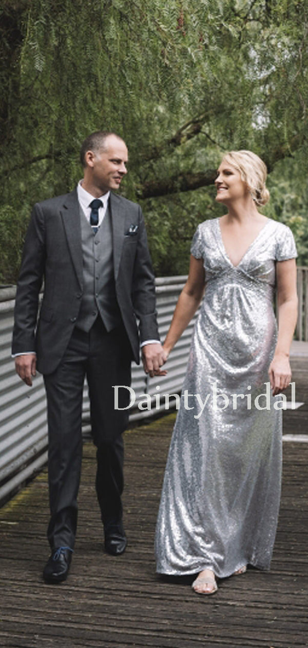 Gogerous V-neck Sequin Floor-length Long Wedding Dresses.DB10641