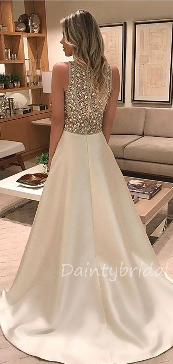 Charming Scoop Neck A-line Satin Long Prom Dresses Evening Dresses.DB10366