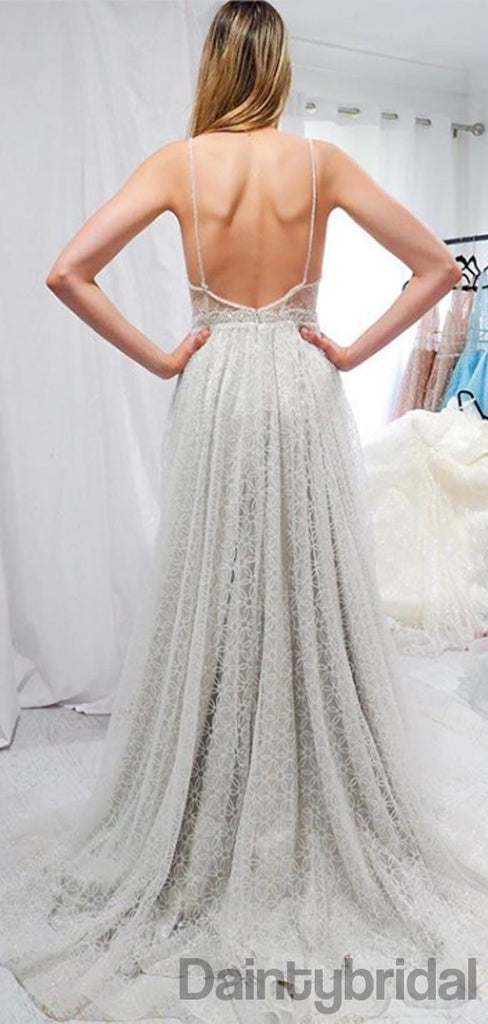Sexy Deep V-neck Open Back Prom Dresses Evening Dresses.DB10289