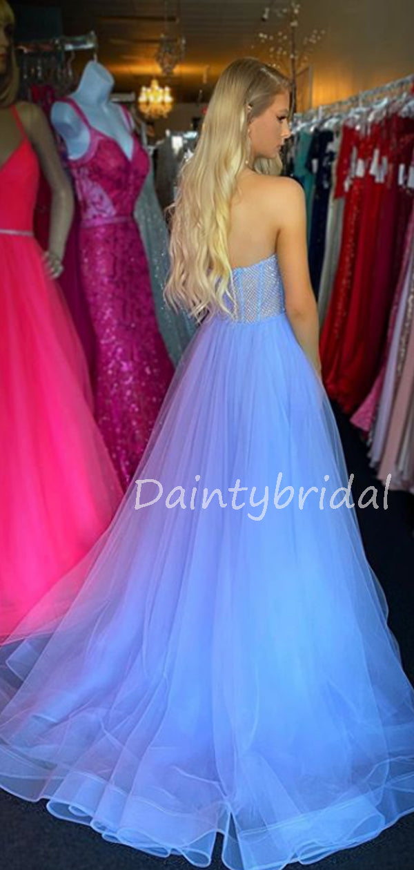 Charming Sweetheart Tulle A-line Side Slit Long Prom Dresses Evening Dresses.DB10616