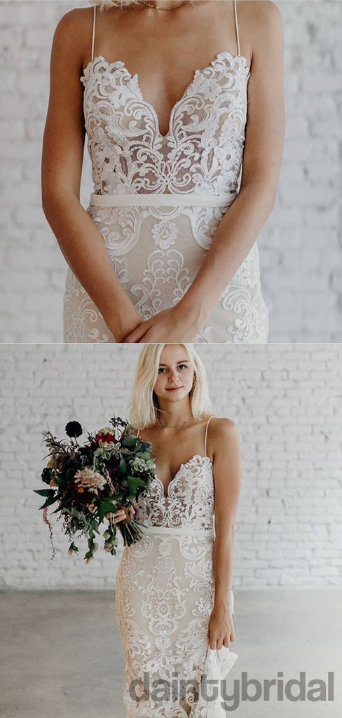 Sexy V-neck Lace Mermaid Open Back Wedding Dresses,DB10256