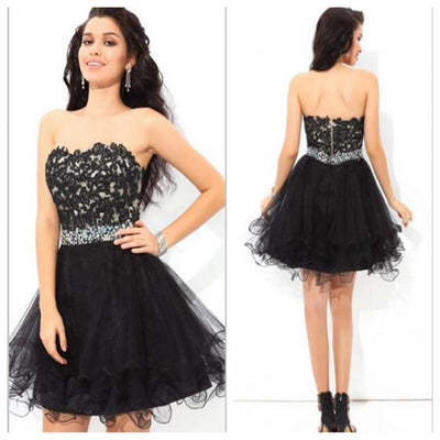 Strapless black lace mini freshman lovely tight homecoming prom gowns dress,BD0061