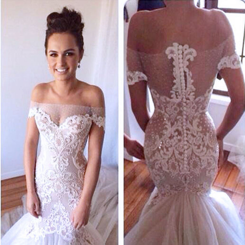e0c43e938bd Charming Sexy Off Shoulder Yarn Button Back Mermaid Lace Appliques Wedding  Party Dresses