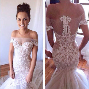 Charming Sexy Off Shoulder Yarn Button Back Mermaid Lace Appliques Wedding Party Dresses, WD0061