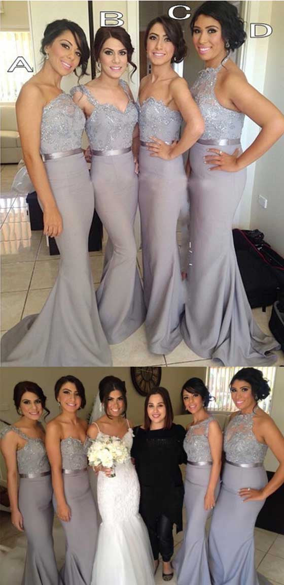 Popular Mismatched Grey Lace Sequin Sleeveless Top Sexy Mermaid Sweep Trailing Long Bridesmaid Dresses, WG62