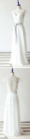 Simple Column Cap Sleeve Yarn Lace Keyhole Back White Chiffon Floor Length Wedding Party Dresses, WD0062