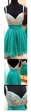 Short Green Spaghetti Strap Sweetheart Deep V-back Sparkly Chiffon Homecoming Prom Dress,BD0064