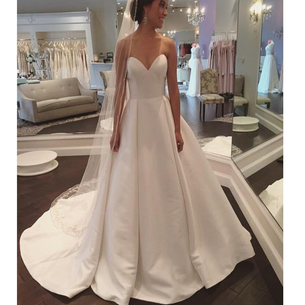 Cheap Vintage Strapless Sweetheart Train Ball Gown Simple Satin Wedding Dresses. DB0070