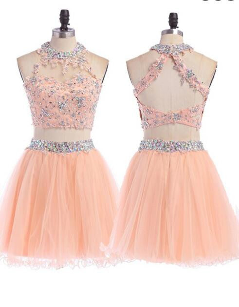 Sexy Two Pieces Peach Halter Lace Sequins Unique Design Open Back Homecoming Prom Dresses, CM0004