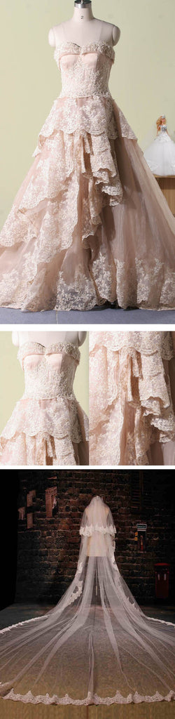 Vintage Pink Lace Sweetheart Strapless Classic Style Long A-line Tiered Skirts Wedding Party Dresses, WD0066