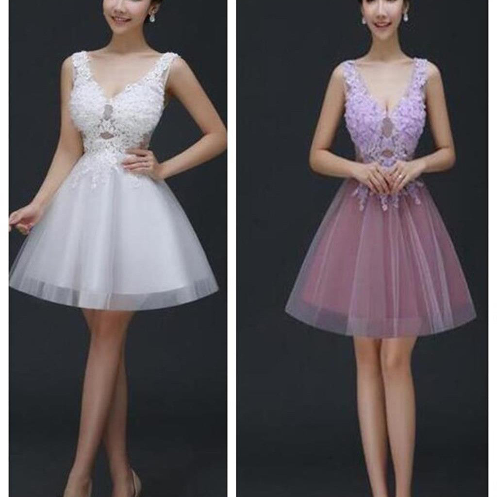 Lovely Junior Sleeveless V-neck Lace Appliques Lace Up Back Homecoming Prom Gowns Dress,BD0066