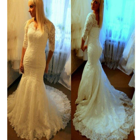 Fascinating V-neck Three-quarter Sleeve Mermaid Long Lace Train Open Back  Wedding Dresses. DB0081