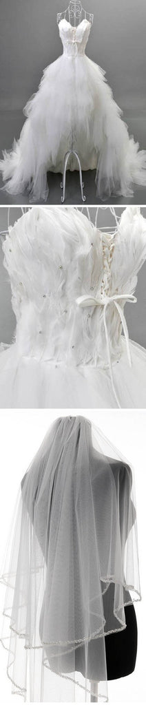 Unique Style Hi-low Sweetheart Spaghetti Strap White Feather Lace Up Tulle Ruffles  Wedding Dresses , WD0067