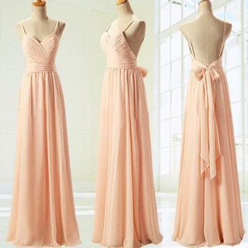 Cheap Junior Pleating Chiffon Spaghetti Strap Sweetheart Backless Floor-Length Maxi  Bridesmaid Dresses, WG67