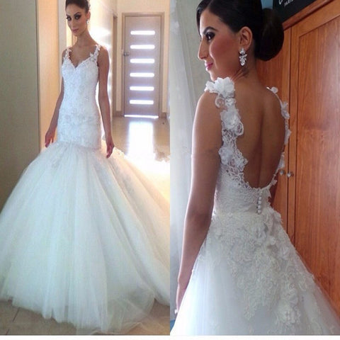 Elegant Spaghetti Strap Appliques Mermaid Ball Gown Open Scoop Back  V-Neck Tulle Train Wedding Dresses. DB0082